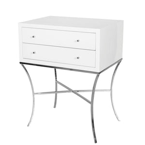 worlds away elena side table white lacquer nickel 2 drawers