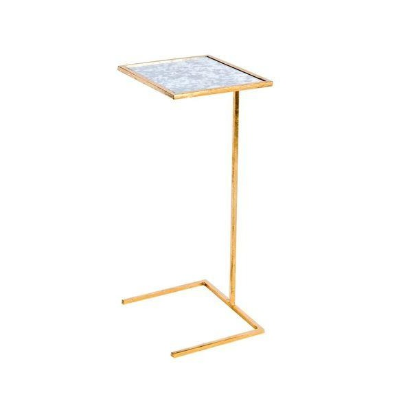 worlds away FMCMAMG cigar table square gold antiqued mirror WA- FNCMAMG furniture tall side table living room side table mirrored side table