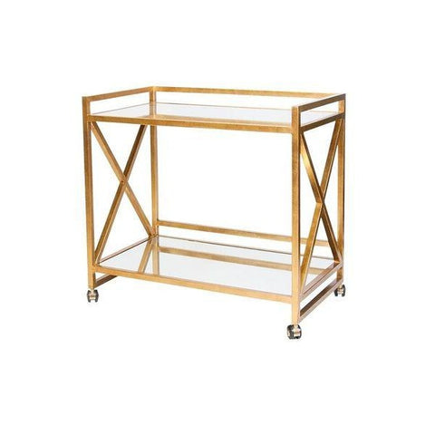 worlds away gerard bar cart gold leafed mirrored shelves