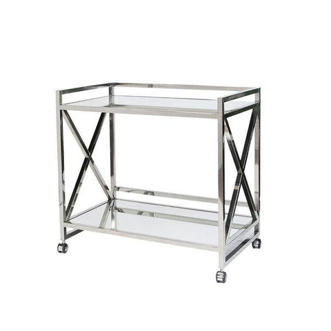 worlds away gerard bar cart stainless steel mirrored shelves