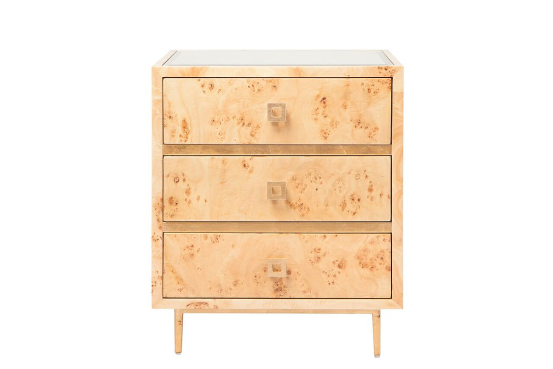 worlds away hyde side table burl wood gold 3 drawers