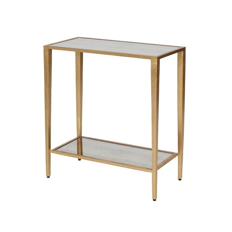 worlds away joyce side table gold leaf mirrored shelves WA JOYCE G Joyce Side Table Gold Leaf furniture side table glass