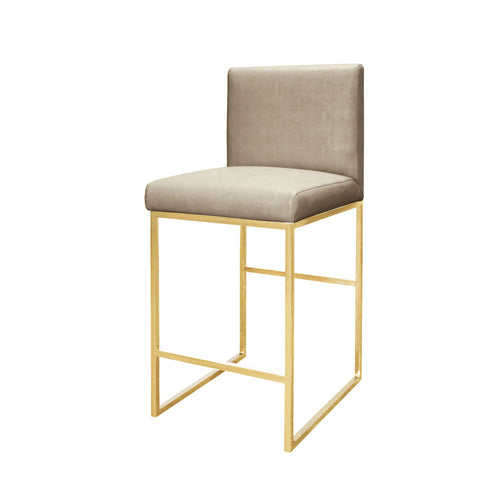 worlds away kingston beige counter stool brass faux shagreen seat