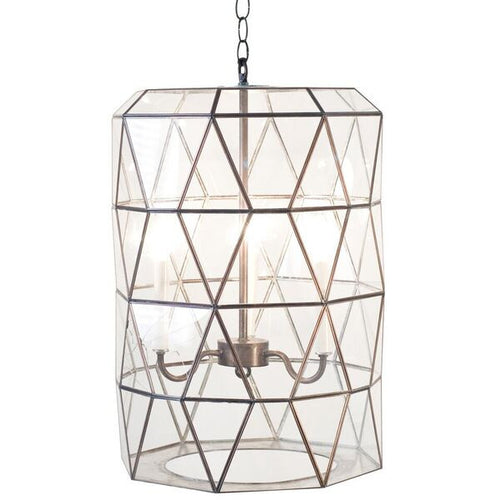 Worlds Away Moderna Chandelier Glass Lantern Geometric Lightning