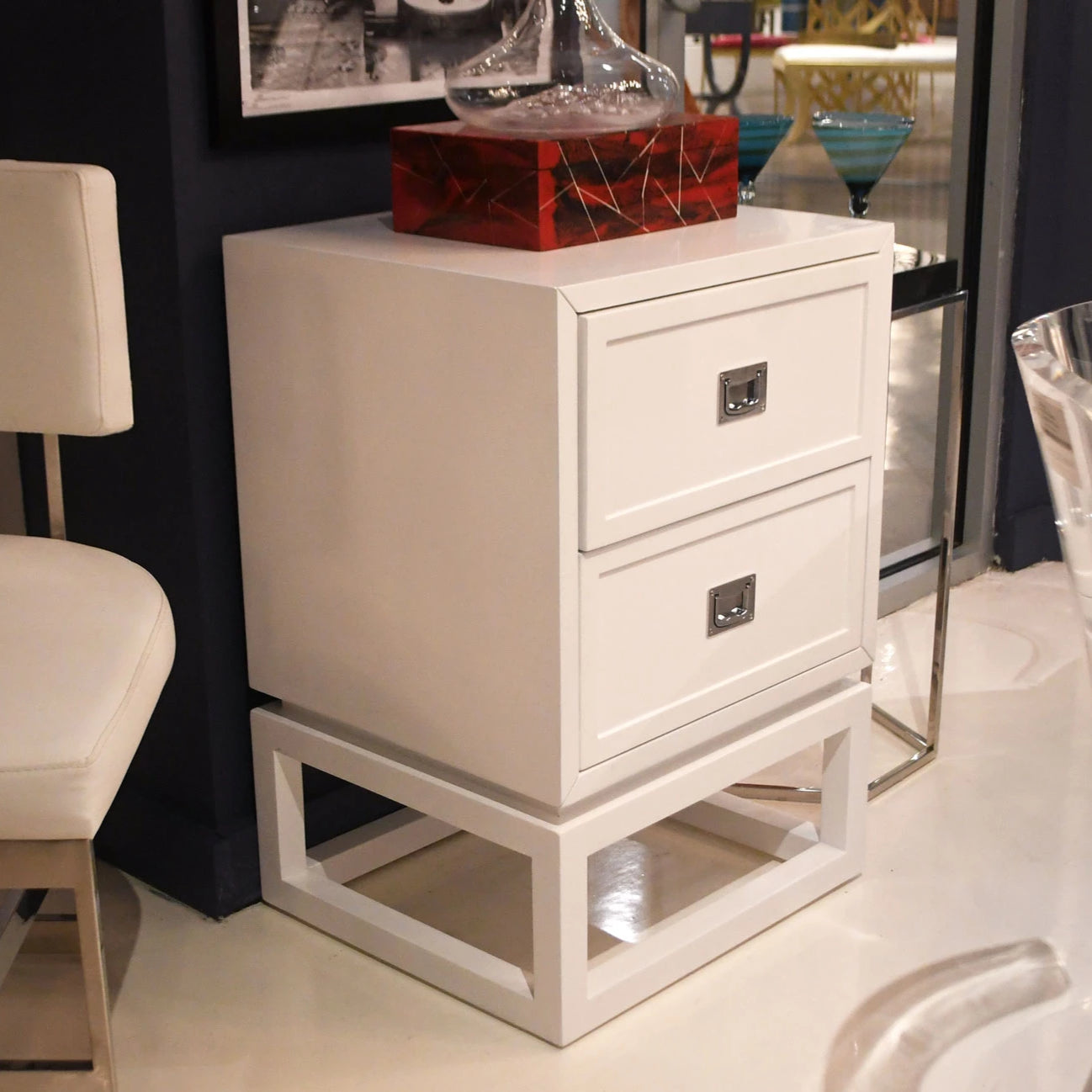 worlds away olivery side table white drawers