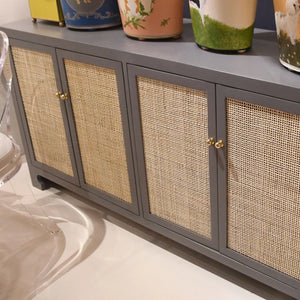 worlds away Sofia cabinet gray lacquer storage media