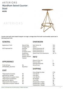 Arteriors home wyndham swivel counter tearsheet