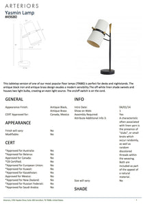 Arteriors home yasmin table lamp tearsheet