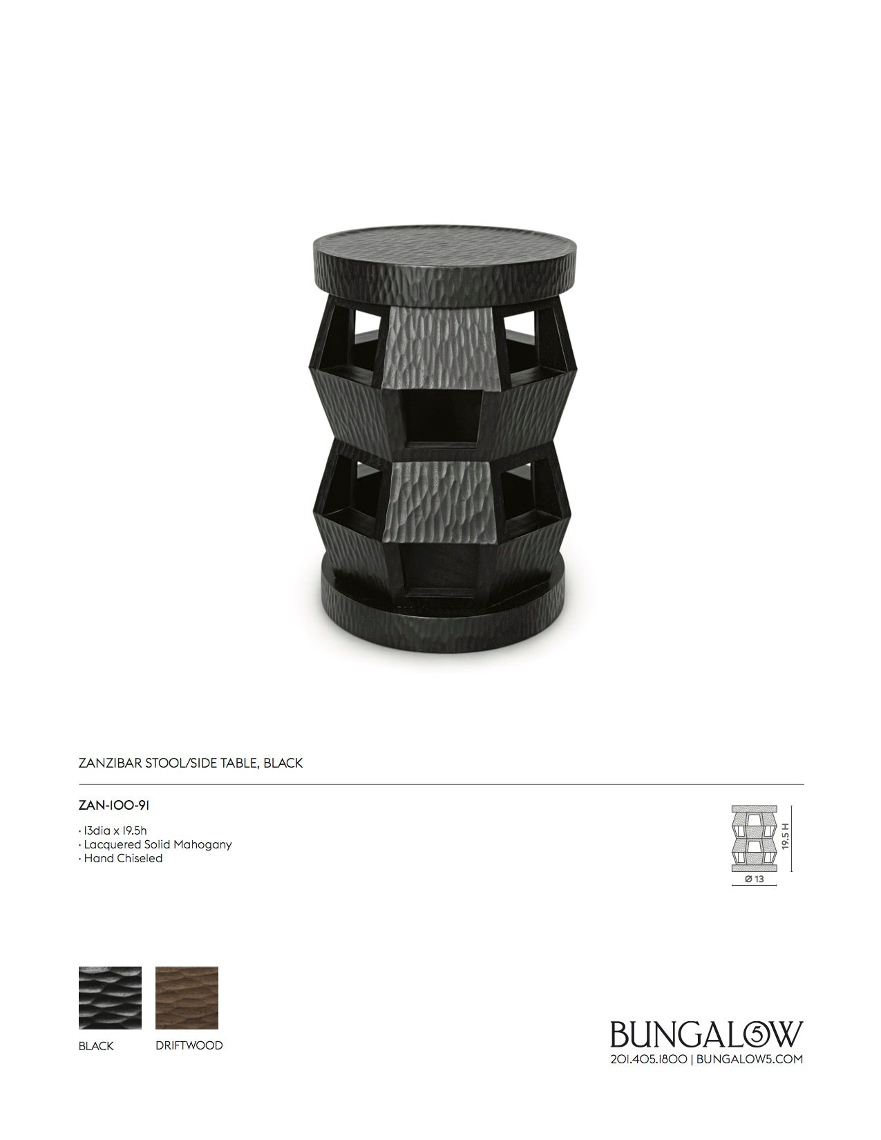 Bungalow 5 Zanzibar Side Table and Stool Black Tearsheet