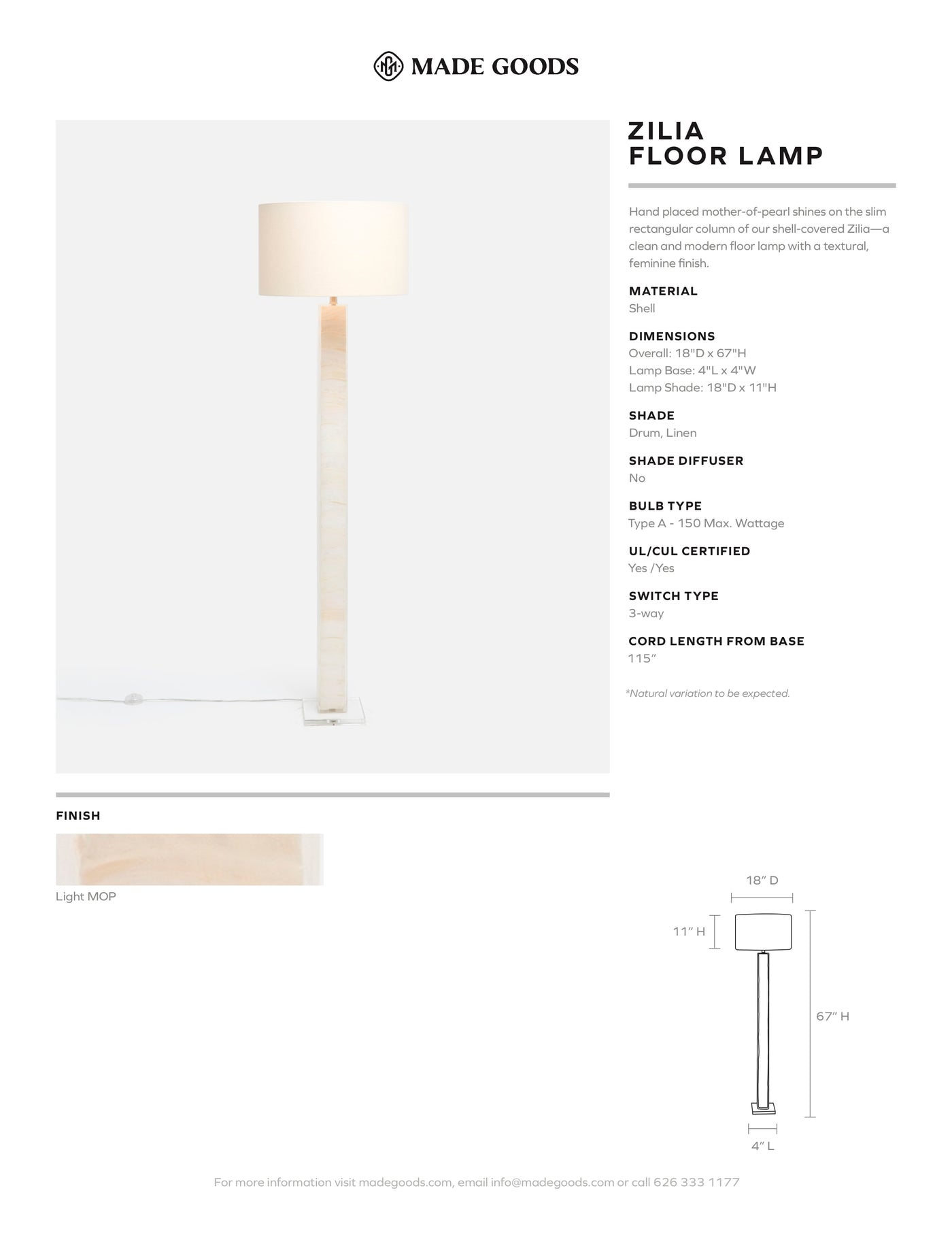 made goods zilia floor lamp tear sheet