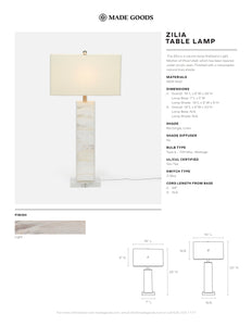 Made Goods Zilia Table Lamp tear sheet