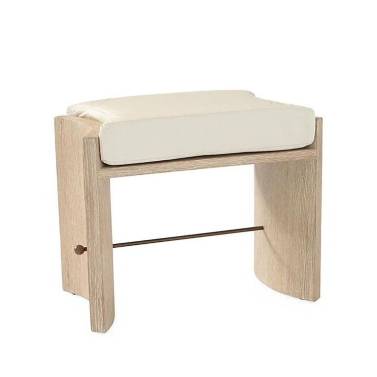 global views cinch bench oak wood ivory leather seat brass bar seating stool