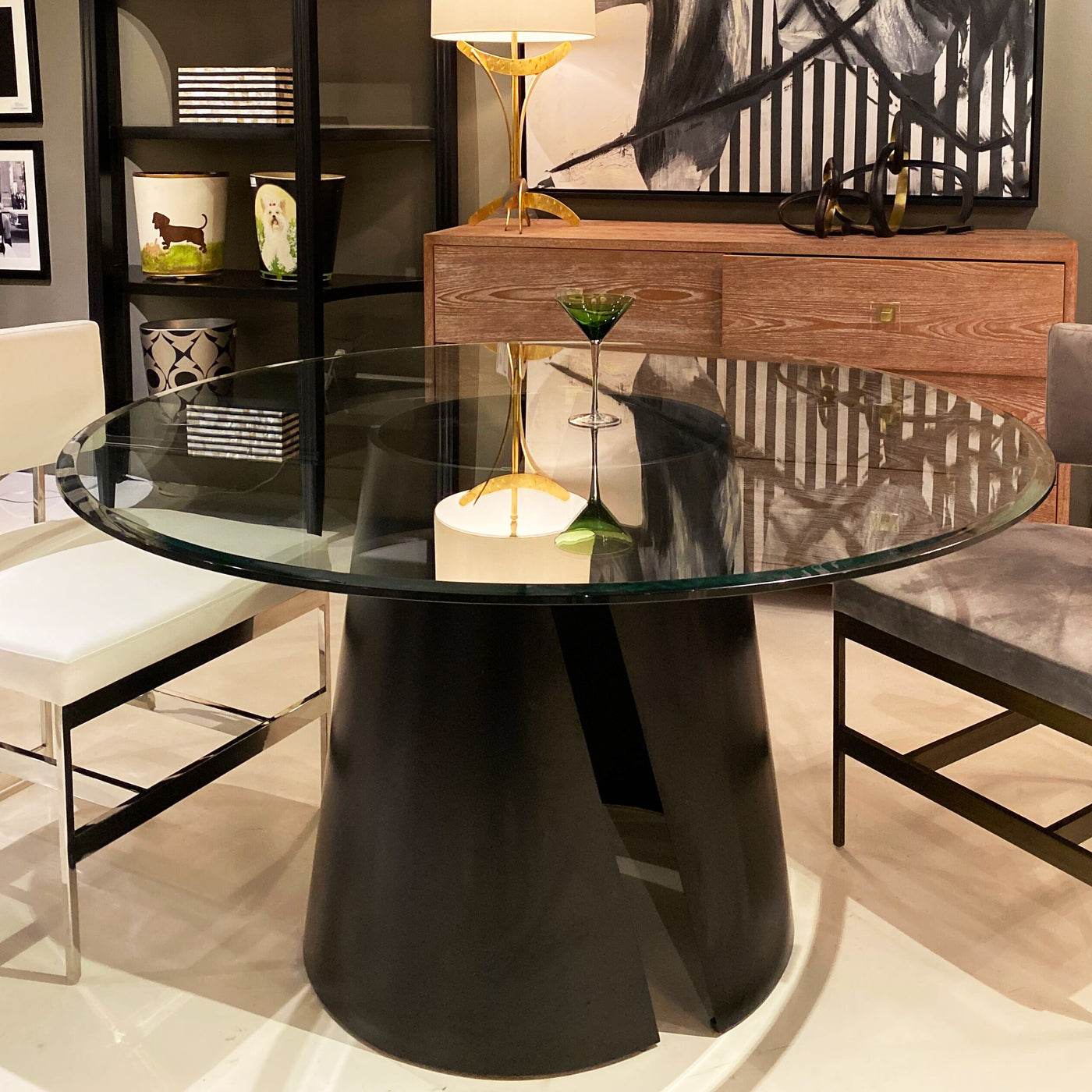 worlds away portia dining table black powder coat