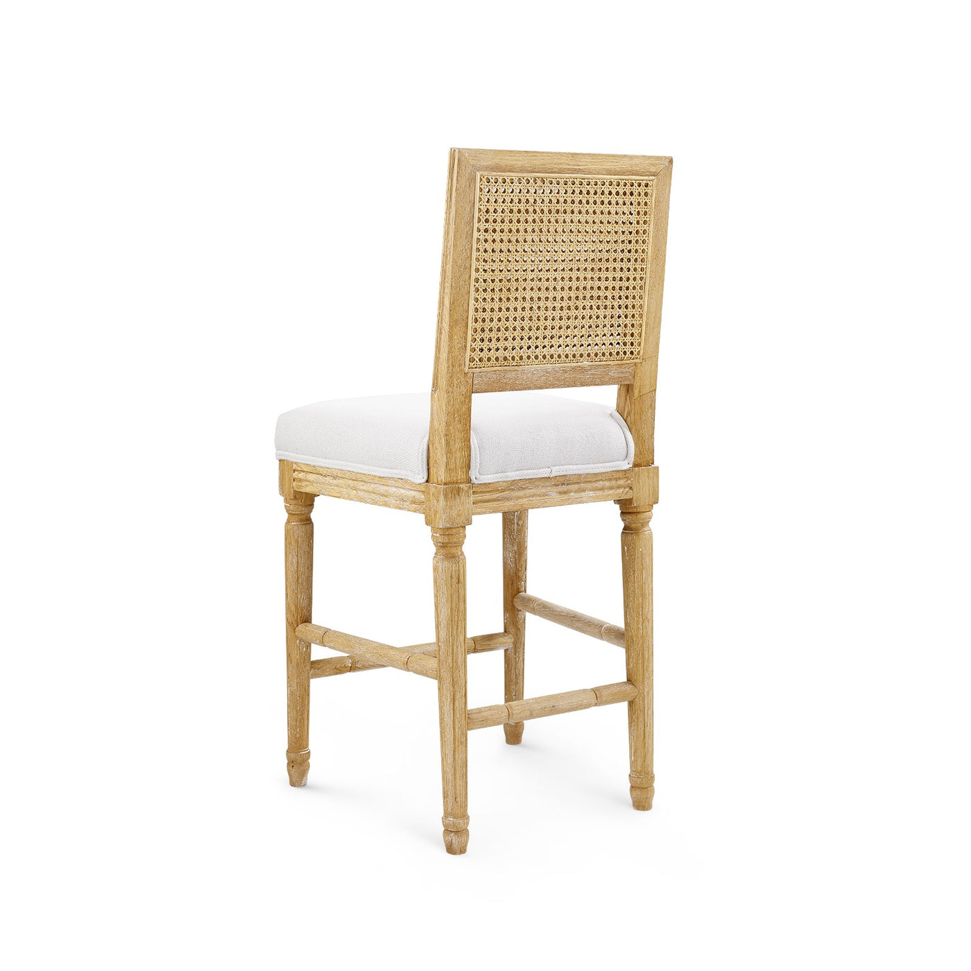 annette counter stool limed oak linen back bar stool caning back view