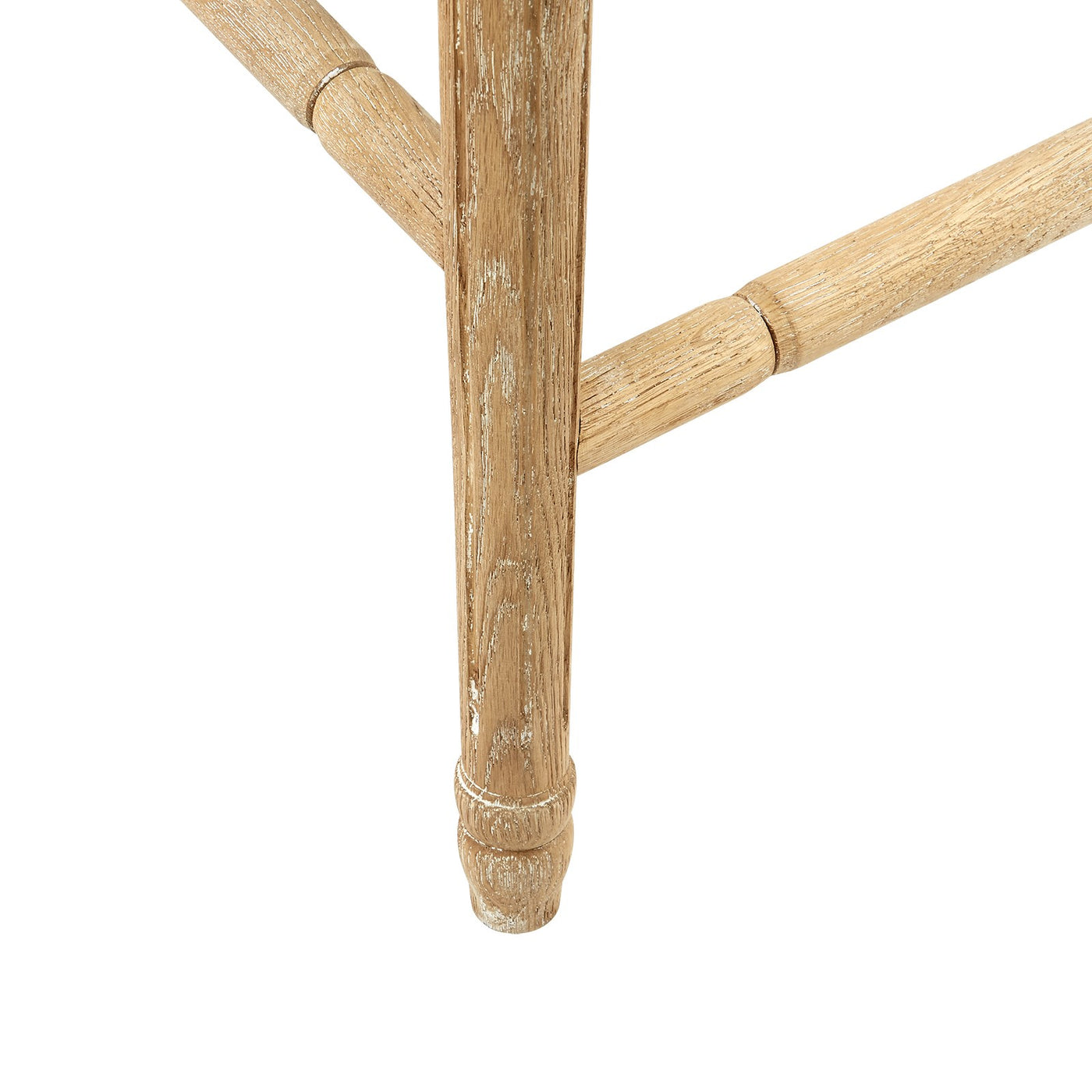 annette counter stool limed oak linen back bar stool caning leg detail