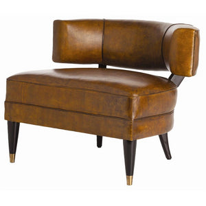 arteriors home laurent chair brown leather mahogany legs brass