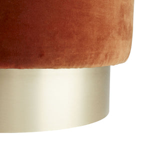 arteriors avalon ottoman persimmon bottom detail