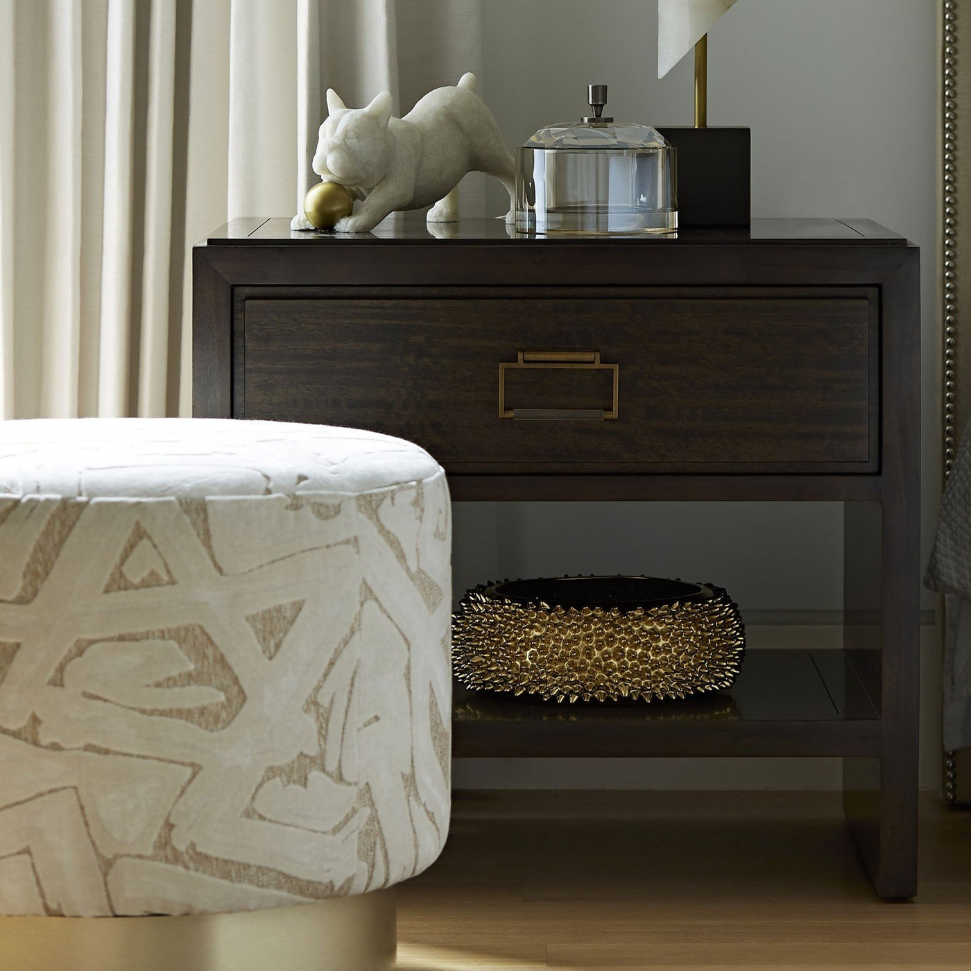 arteriors avalon ottoman swiss coffee swive styled