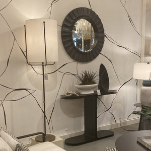 arteriors Blake mirror round black wood showroom