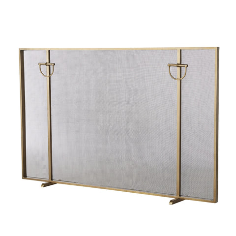 arteriors brooklyn fireplace screen antique brass angle