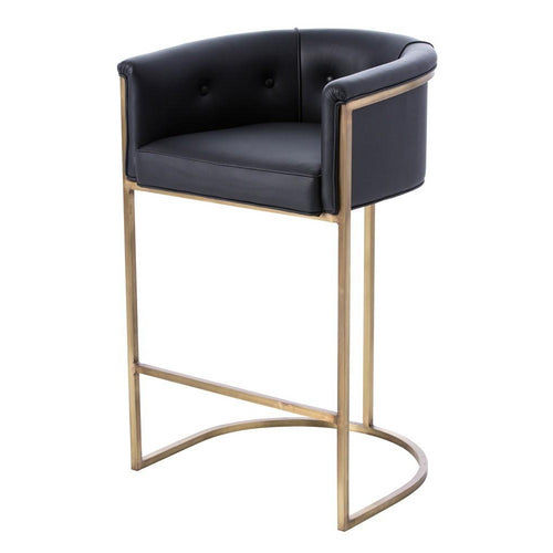 arteriors calvin barstool black leather brass base