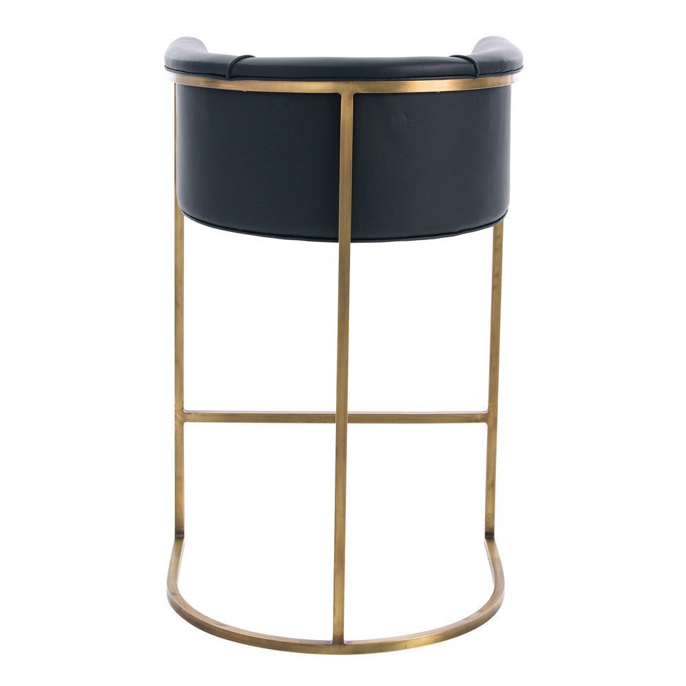 arteriors home calvin bar stool leather upholstery brass frame back view