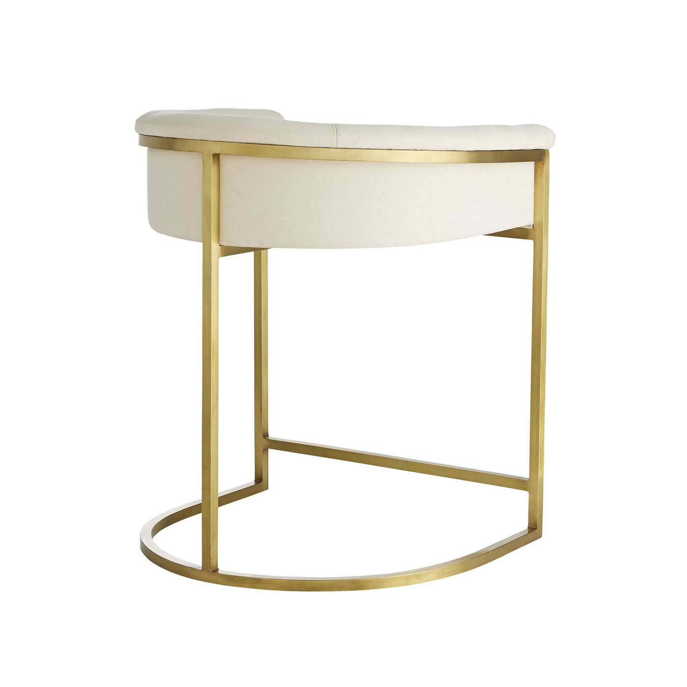 arteriors calvin counter stool muslin and antique brass back