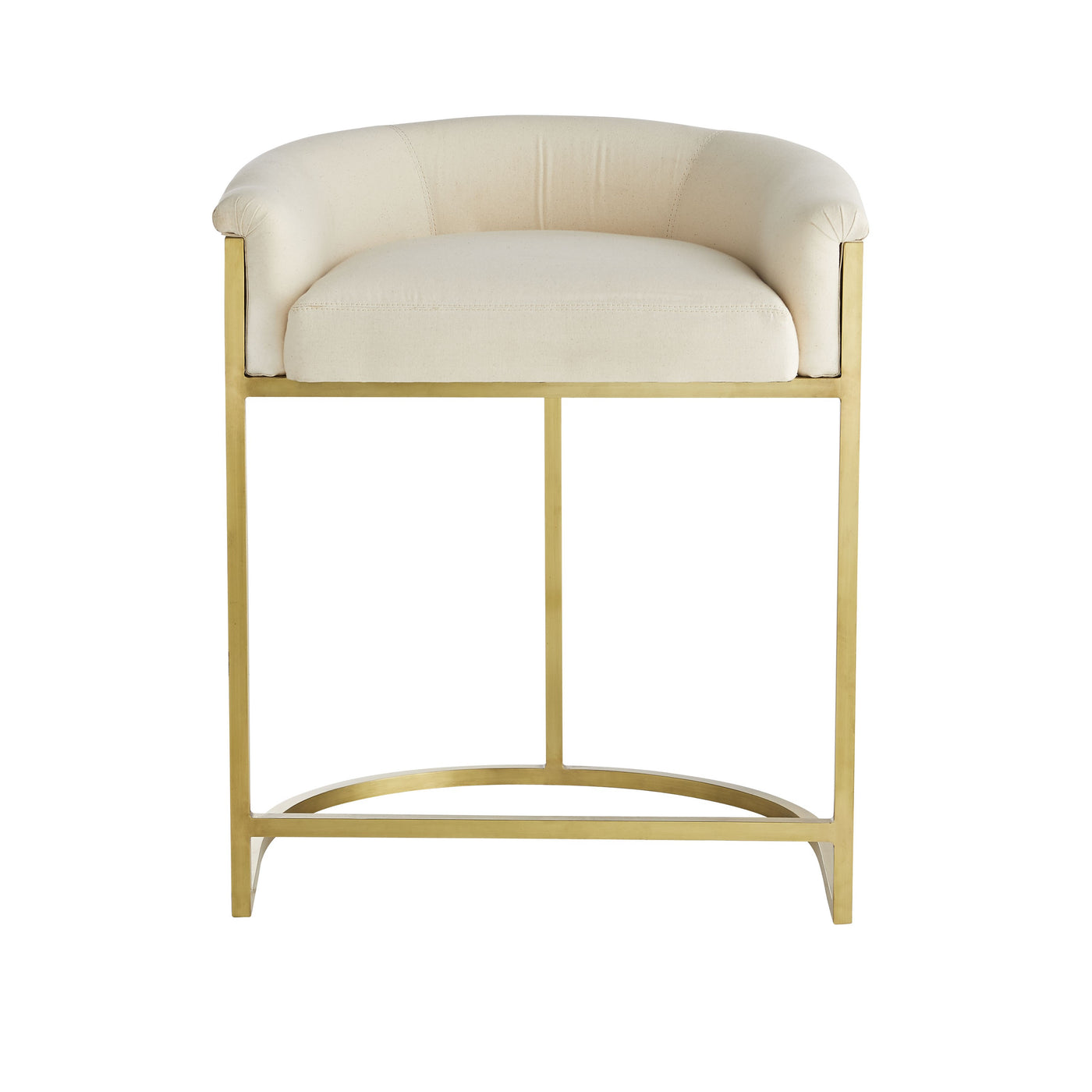 arteriors calvin counter stool muslin and antique brass