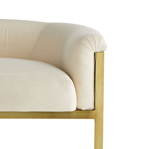 arteriors calvin counter stool muslin and antique brass cushion
