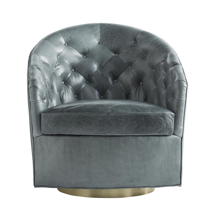 arteriors home capri chair juniper leather champange swivel