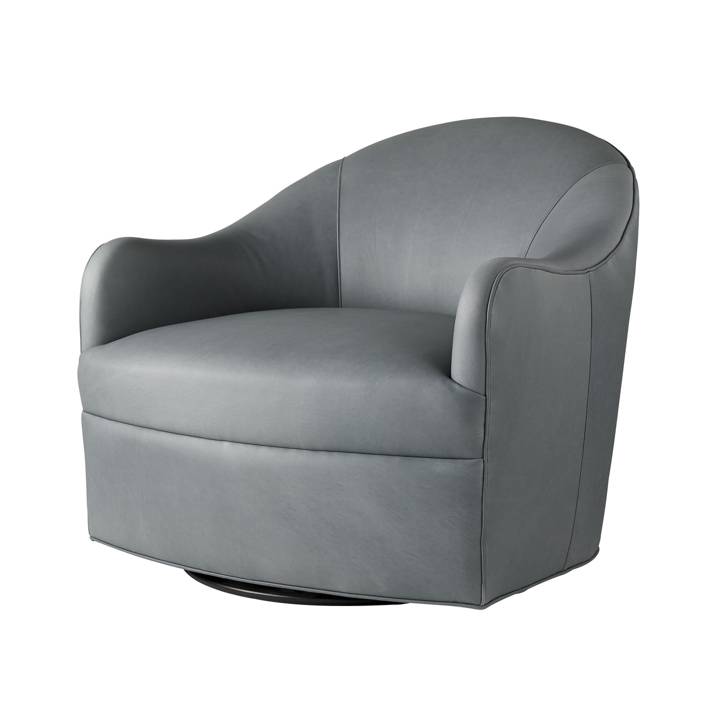 arteriors delfion grey leather swivel chair angle
