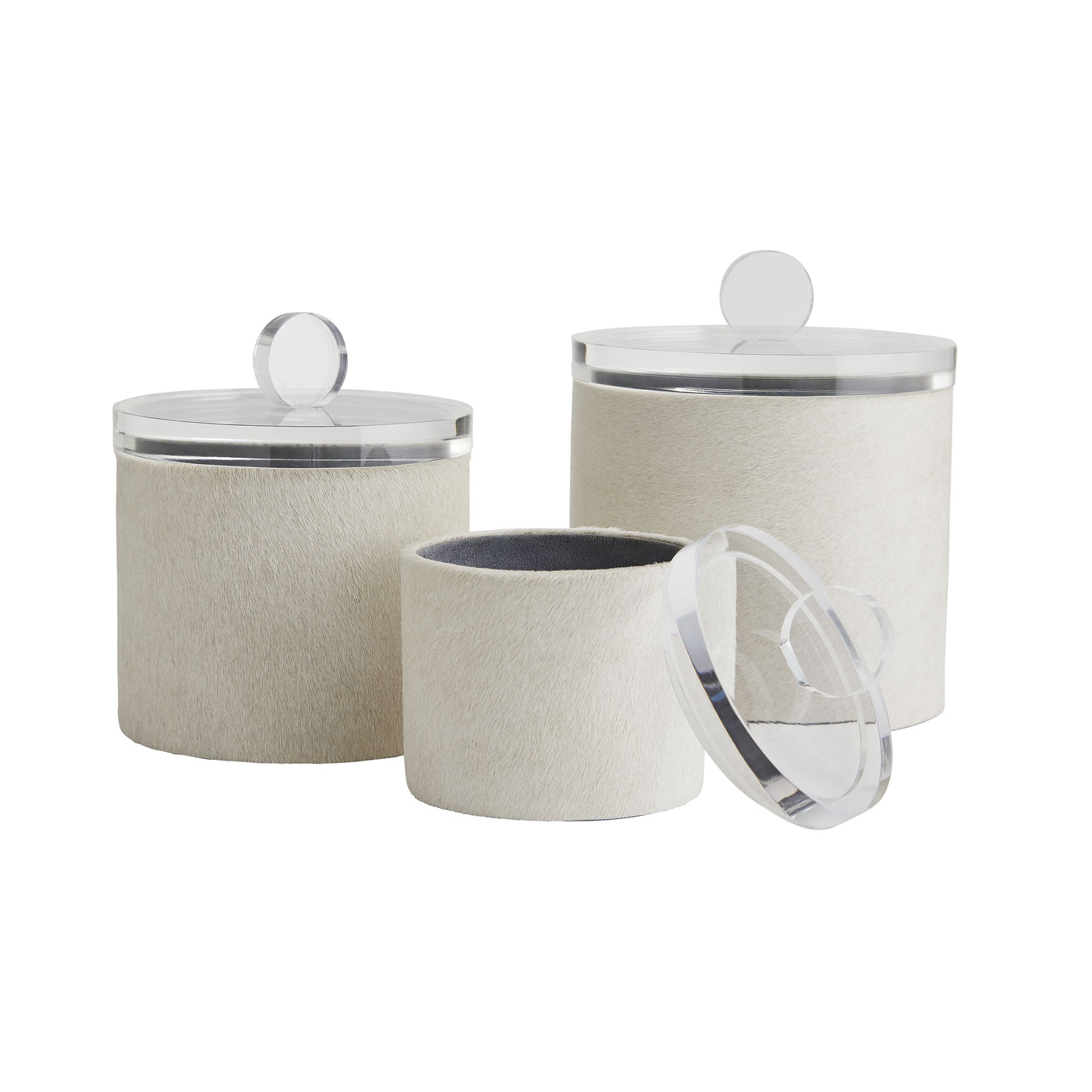 arteriors dora containers set of three lid off