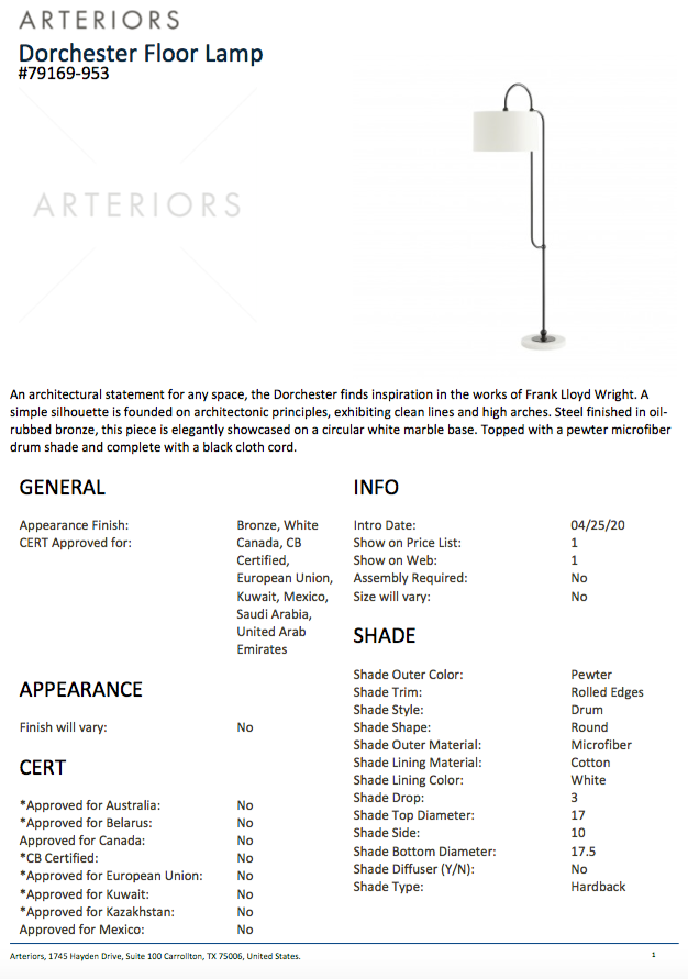 arteriors dorchester floor lamp bronze tearsheet