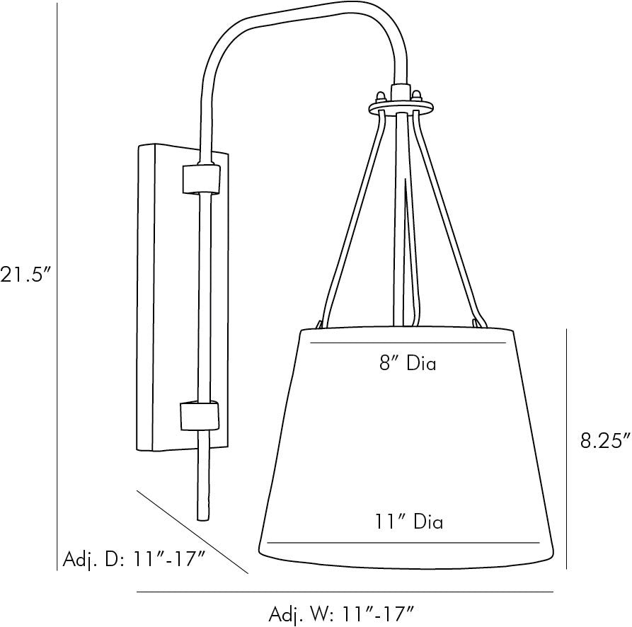 arteriors franklin sconce diagram
