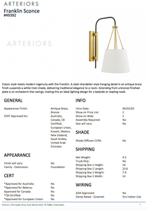arteriors franklin sconce tearsheet