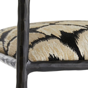 arteriors home barbana counter stool ocelot embroidery detail