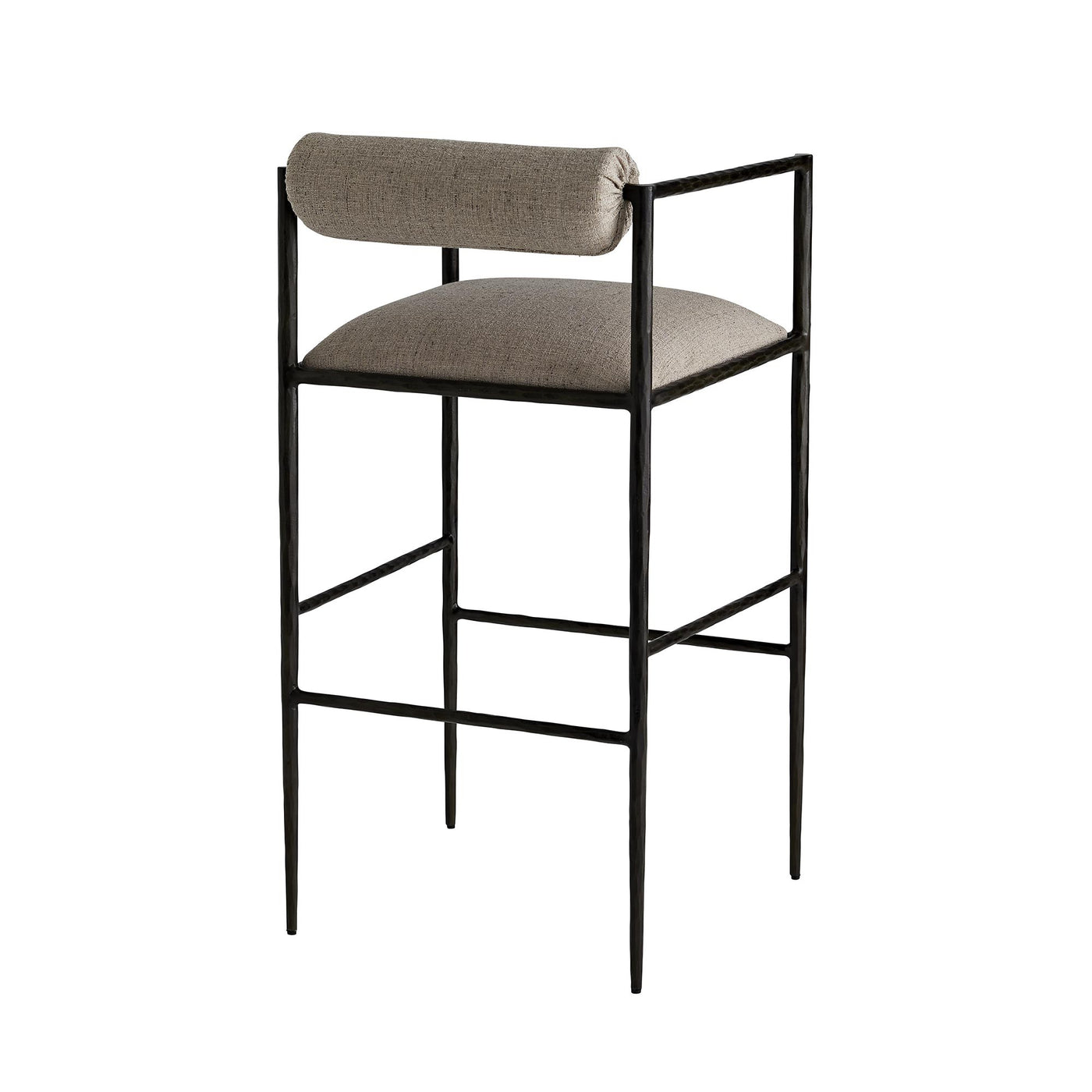 arteriors home barbana bar stool pewter texture back