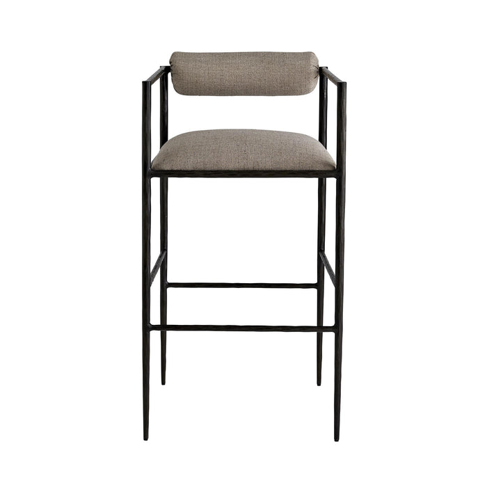 arteriors home barbana bar stool pewter texture front