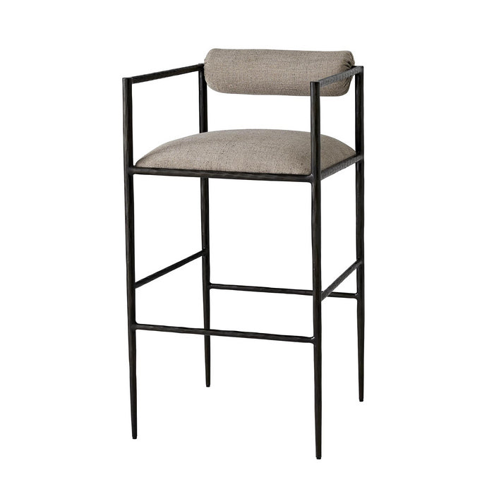 arteriors home barbana bar stool pewter texture