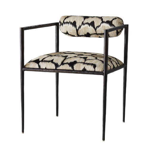 Arteriors Home Barbara Chair Ocelot Embroidery Iron Seating
