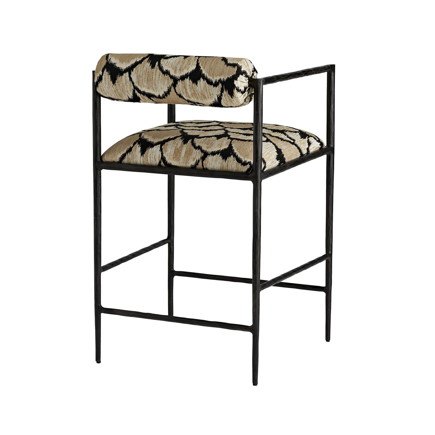 arteriors home barbana counter stool ocelot embroidery back