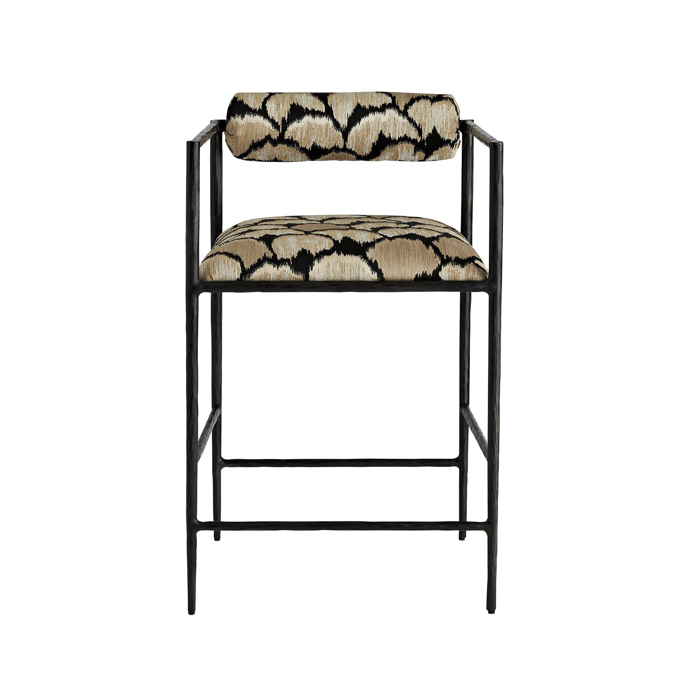 arteriors home barbana counter stool ocelot embriodery front