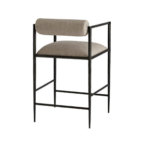 arteriors home barbana counter stool pewter embroidery back