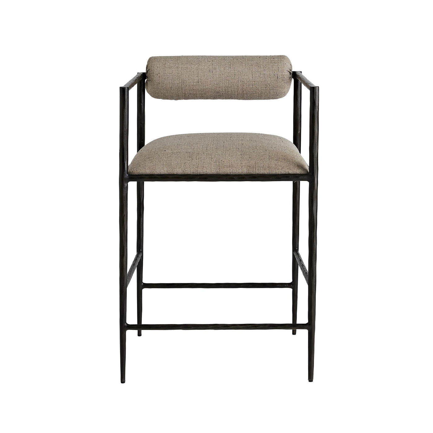arteriors home barbana counter stool pewter embroidery front