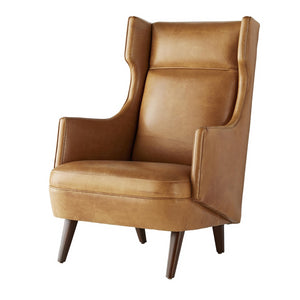 arteriors home budelli wing chair cognac leather dark walnut angle