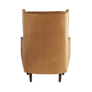 arteriors home budelli wing chair cognac leather dark walnut back
