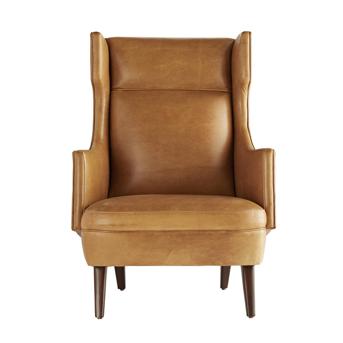 arteriors home budelli wing chair cognac leather dark walnut