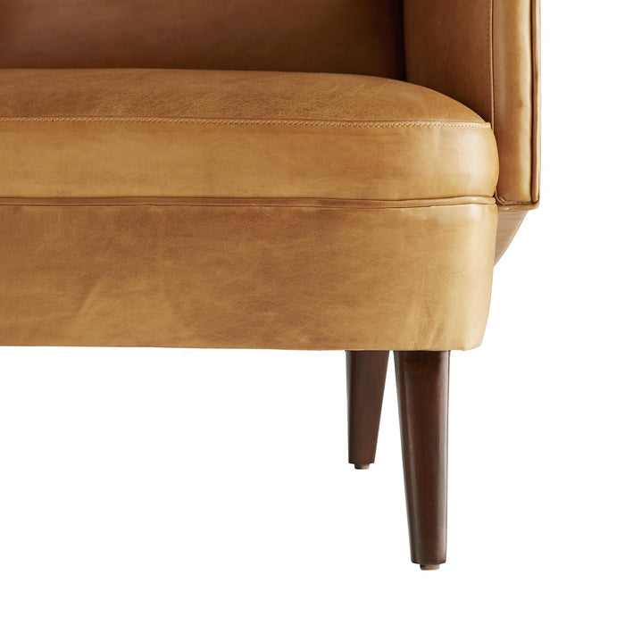 arteriors home budelli wing chair cognac leather dark walnut leg