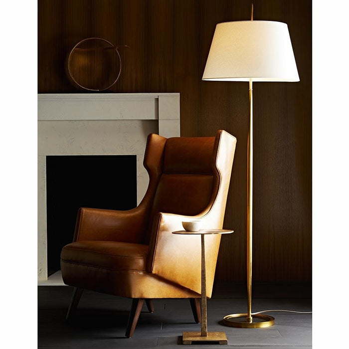 arteriors home budelli wing chair cognac leather dark walnut styled in room