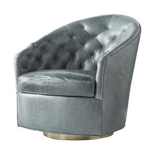 arteriors home capri chair tufted leather grey teal